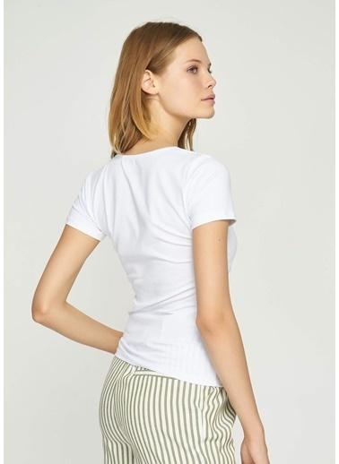 Tiffany&Tomato V Yaka  Basic T-Shirt Beyaz